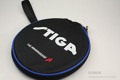 STIGA Ping Pong Paddle Carry Case Single Table Tennis Bat Racket Pouch Bag Black