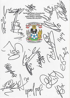 An A4 white card with the Coventry City Badge. Signed by 20 players on 28.07.15.