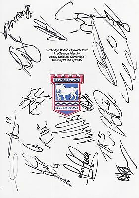 An A4 white card with the Ipswich Town Badge. Signed by 17 players on 21.07.2015
