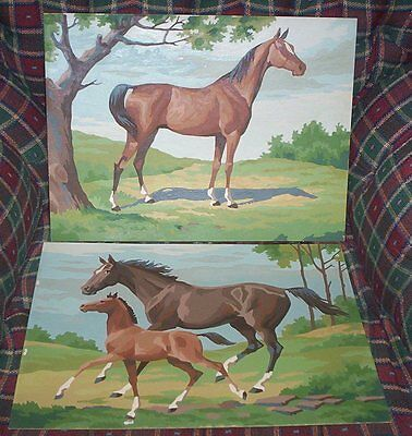 estate find lot of 2 PAINT BY NUMBER Horse Pony Horses painting approx 12 x 16