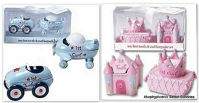 Baby Gift First Tooth & Curl Keepsake Set NWT Pink or Blue