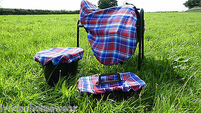 Horse Saddle/Bucket/Tack Tray Grooming Kit Cover, Blue/Red Tartan Check