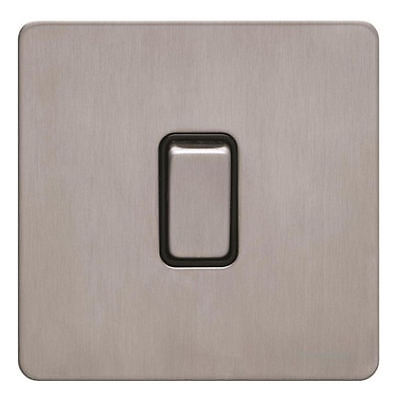 Screwless Flat Plate Light Switch Schneider GU1412BSS Brushed Stainless Steel