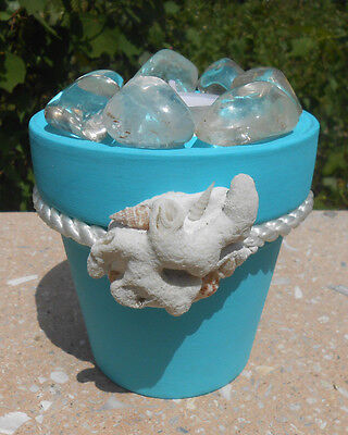 Healing Himalayan Crystal Quartz Tumbled Stone Tealight On Pottery With Seashell
