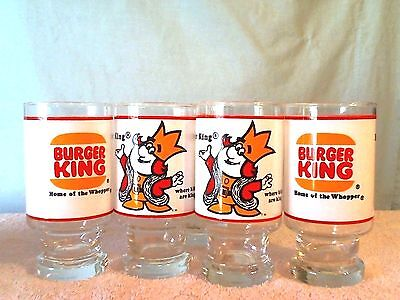 "5 Vintage Burger King Drink Glass 1970's Promotional ""Where Kids are King"""