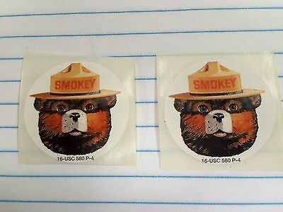 "SMOKEY The Bear Stickers, (2) Two, Each Sticker is 1.5"" Diameter"