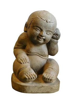 Chinese Oriental Stone Sitting Baby Kid Figure cs1924