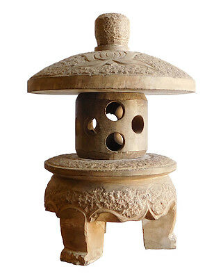 Chinese Gray Brown Lotus Mini Round Stone Garden Lantern cs1928
