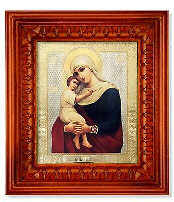 Orthodox Catholic Russian Icon Madonna and Child Wooden Shrine Glass 11 1/2 Inch