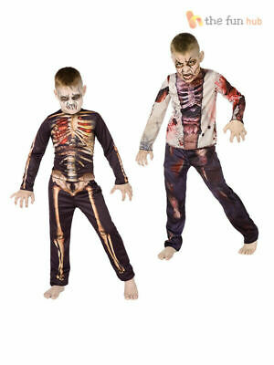Boys Zombie Costume Kids Halloween Fancy Dress Party Outfit Childrens Skeleton