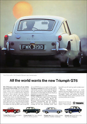 Triumph Gt6 Retro A3 Poster Print From Classic 60's Advert 1967