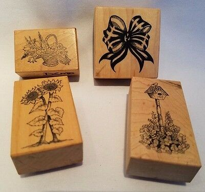 Lot of 4 Vtg PSX Wood Mounted Rubber Stamps Birdhouse, Bow, Flowers, Sunflower