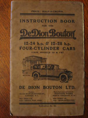 DE DION BOUTON INSTRUCTION BOOK English 1925, FREE POST