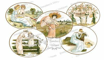 Vintage Image Shabby Victorian Women Oval Labels Waterslide Decals LAB423