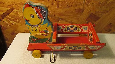 Old Fisher Price Chick & Cart Pull Top No. 400