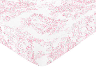 Sweet Jojo Designs Pink Toile Crib or Toddler Fitted Sheet - Toile Print Cotton