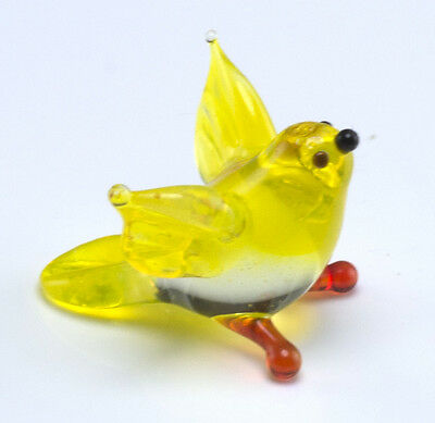 Miniature Lampwork Tiny Hand Blown Glass Yellow Goldfinch Bird Figurine