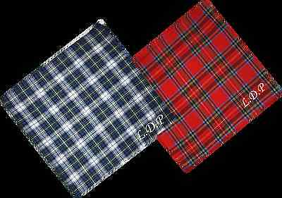 Embroidered Monogrammed Stewart or Gordon Tartan Handkerchiefs Hankies  X 3 New