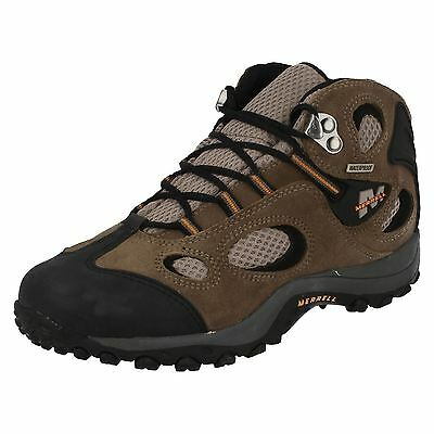 Boys Merrell Grey Leather Waterproof Walking Boot Style - Chameleon J80033