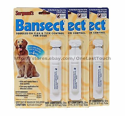 SERGEANT'S* 3 Months BANSECT Squeeze-on FLEA & TICK CONTROL For Dogs OVER 33 lbs