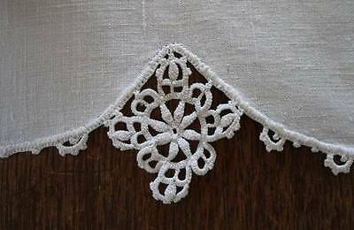 Vintage Irish Linen Table Runner Napkin Set Crochet Lace Daisy Edge 52""