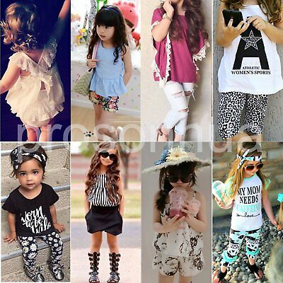 Toddler Kids Baby Girls Clothes T-shirt Tops+Pants/Shorts/Skirt/Dress Outfit Set