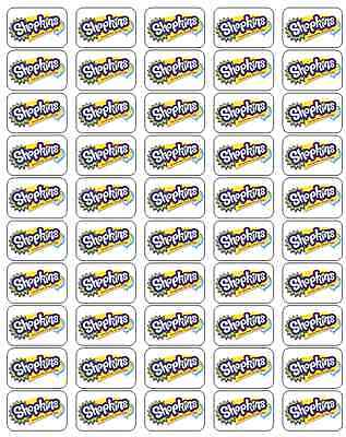 "50 Shopkins Logo Envelope Seals / Labels / Stickers, 1"" by 1.5"""