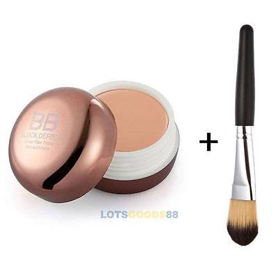 Pro Hide Blemish Concealer Makeup Cosmetic Face Foundation BB Cream+Powder Brush