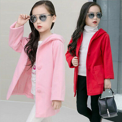 Sweety Children Girls Pure Color Hooded Wool Coats Casual Party Outwear Jackets