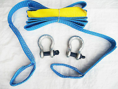 """50MM x 4.5 Metre 5 Ton Tow Strap With Shackles - Strop Band Rope Towing 2"""""""