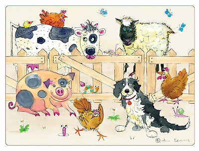 I Style Farmyard Placemats Set of 4 Table Mat Dining Cow Sheep Pig Chicken Farm