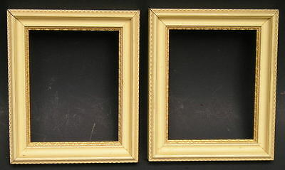 Small Pair~Vintage Mid Century Modern Pattern Off White Gold Picture Frames
