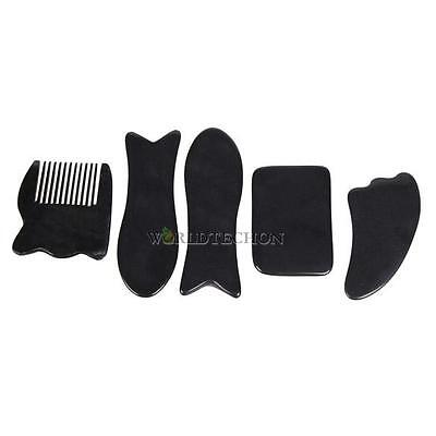 5Pcs Chinese Traditional Gua Sha Acupuncture Massage Natural Tool Set Black Hot