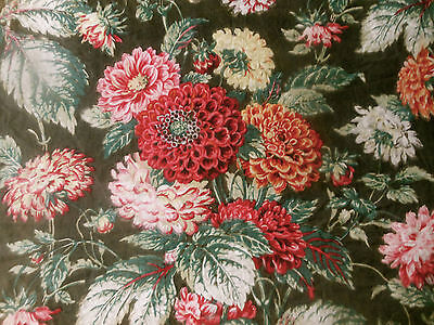 Antique French Zinnia Floral Cotton Fabric ~ Red Pink Otange Green Brown Olive