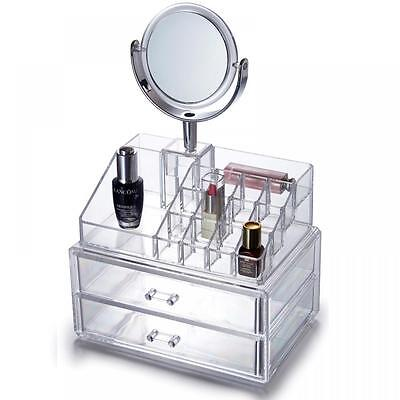 Clear Acrylic Drawer Cosmetic Makeup Display Storage Table Organiser With Mirror
