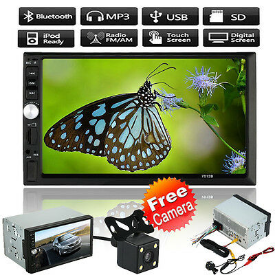 "Double 2Din 7"" HD Car Stereo MP3 Player Radio Bluetooth TV USB +Rear View Camera"