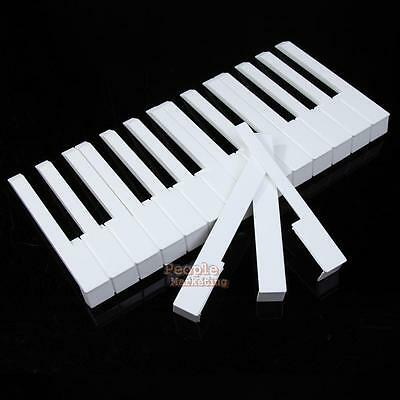 52Pcs White ABS Plastic Piano Keytops Kit with Fronts Replacement Key Tops