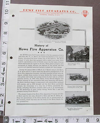 Howe Fire Apparatus Co Article History w/ photos