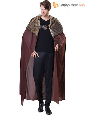 Adults Deluxe Games of Thrones Fur Cape Mens Medieval Viking Cloak Fancy Dress