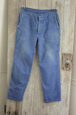 Vintage French work chore pants clothes blue farmers utilitarian trousers 36 w