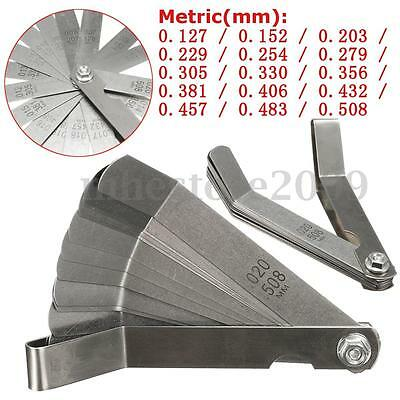 Metric 0.127-0.508mm Valve Offset Feeler Gauge 16 Blade 10mm Width 100mm Length