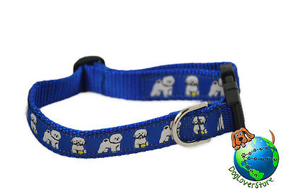 Bichon Frise Dog Breed Adjustable Nylon Collar Medium 10-16″ Blue