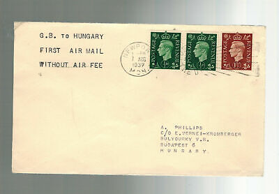 1937 England First Flight Cover FFC  to Hungary via Imperial Airways w/o air fee