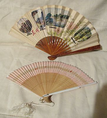 2 Asian Rice paper & Bamboo Fans Painted &  1 signed