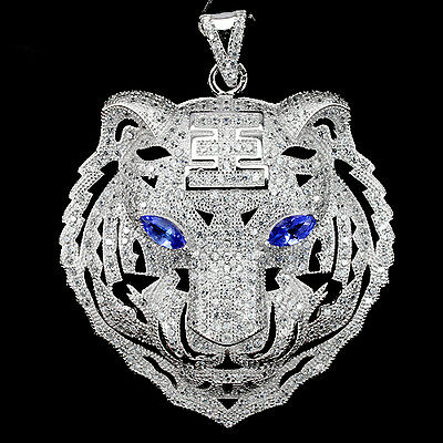 Sterling Silver 925 Genuine Lab Created Diamond & Tanzanite Tiger Pendant