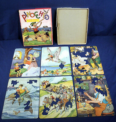Vintage 1940 Pinocchio Picture Puzzles Tony Sarg 6 in Box Platt + Munk Co. As Is