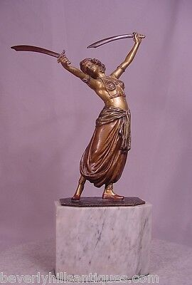 Rare Antique Beautiful Vienna Bronze Harem Sword Dancer