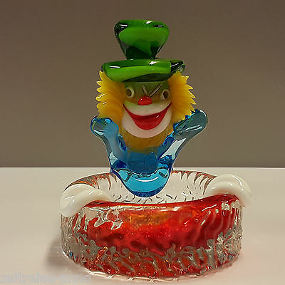 Murano Clown Aschenbecher Ashtray bunt farbenfroh mundgeblasen TOP