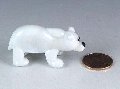 Miniature Hand Blown Art Glass Polar Bear Figurine