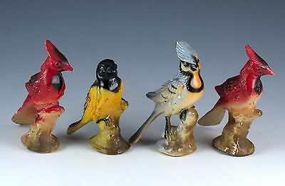 Vintage Miniature Set of Bird Figurines Hard Plastic Blue Jay Cardinals Oriole